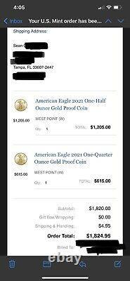 Toute Nouvelle Monnaie 2021 American Eagle One-half Ounce Gold Proof Coin (1/2 Oz) Rare
