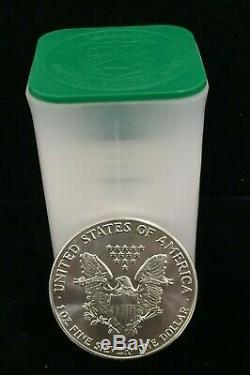 Tube De 20 Pièces De Monnaie En Argent Américain Eagles De 1986 À La Menthe (date Rare) # Ast610