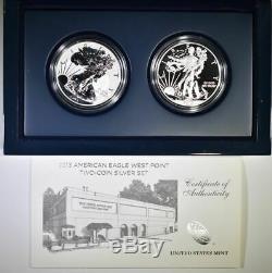 U. S. Mint 2013-w American Silver Ensemble De Preuve En Argent Avec Deux Pièces Avec Boîte Et Certificat D'authenticité