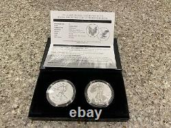 Us Mint 2021 American Eagle One Ounce Silver Inverse Proof Two-coin Set (nouveau)
