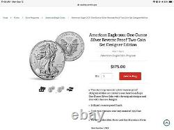 Us Mint American Eagle 2021 One Onnce Silver Inverser Proof Two-coin Set Designer
