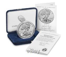 (en Main) Us Mint 2019-s American Eagle One Argent Enhanced Ounce Preuve Inverse